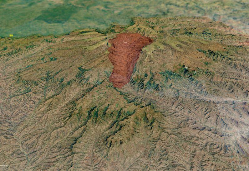Satelitenbild aus Google Earth View, das evtl. den Krater des ehemaligen Vulkans erahnen lässt. (c) Google