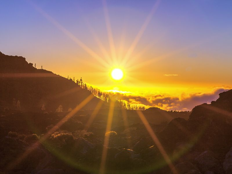 Sunset at the caldera of Teide