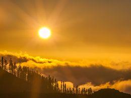 Sunset over the caldera of Teide volcano