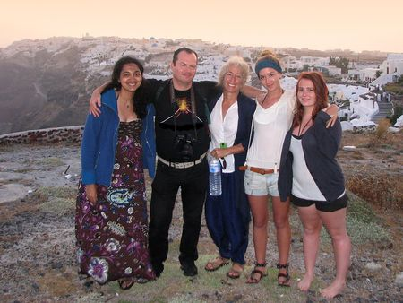 With Kamal, Phoebe, her doughter and a friend on Santorini in 2011