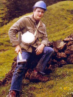 Tobias Schorr 1982 at an ancient copper mine at Kitzbuhel/Austria