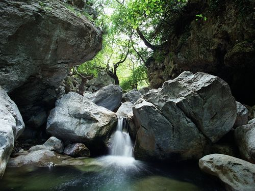 Das wildromantische Tal Diavologefiro mit seinen vielen Wasserfällen gehört zu den Naturschätzen der Ost-Peloponnes. (c) Tobias Schorr 1987