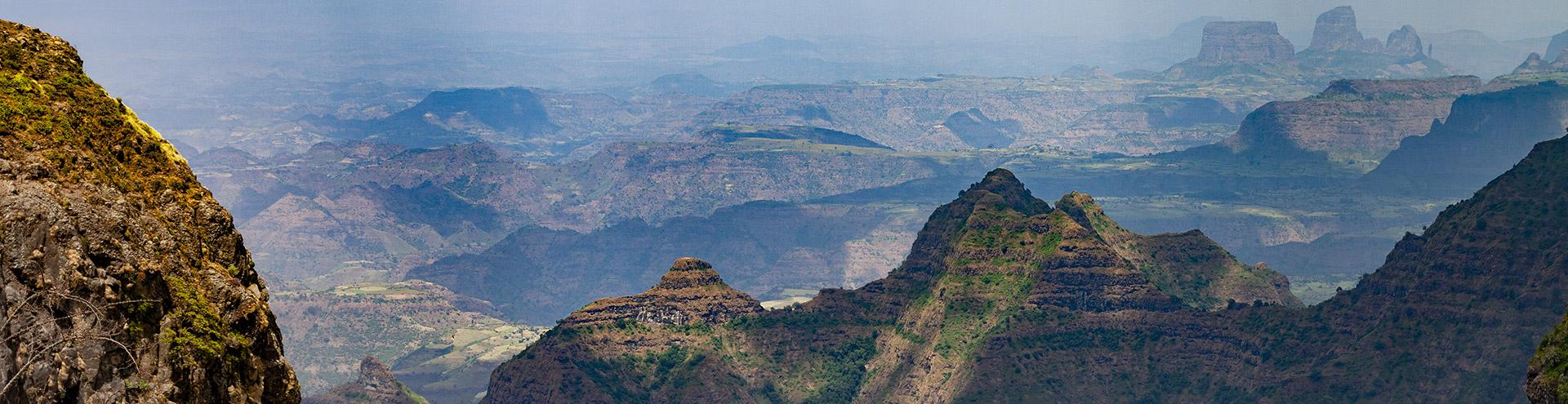 Die Landschaft des Simien-Gebirges in Äthiopien