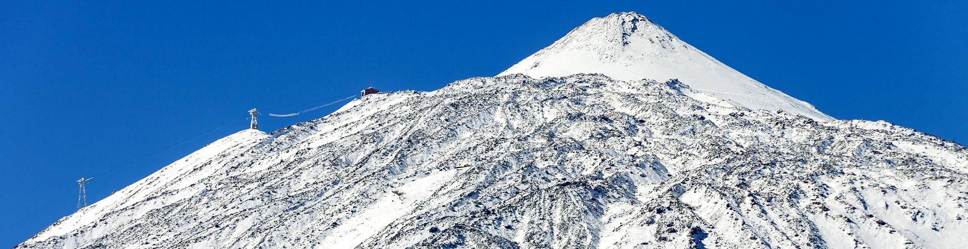 The snow covered Teide volcano on Tenerife