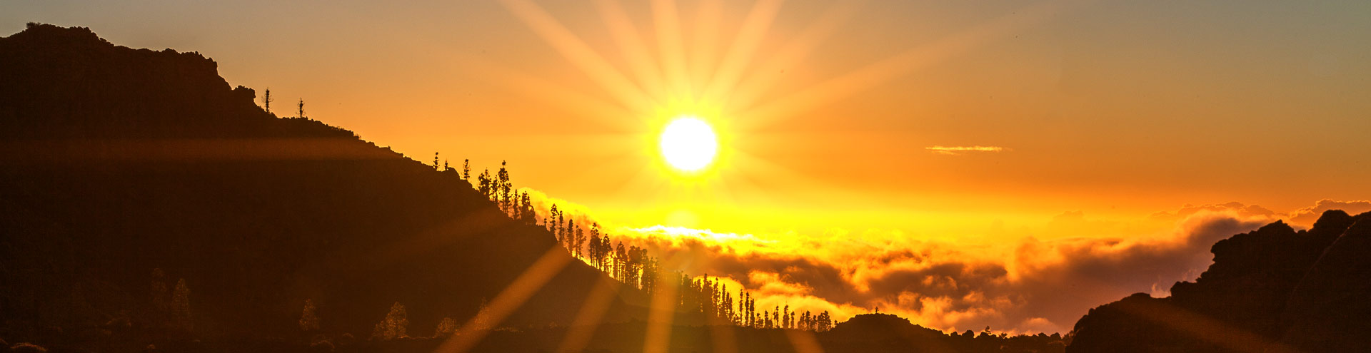 Sunset from the caldera of Teide volcano